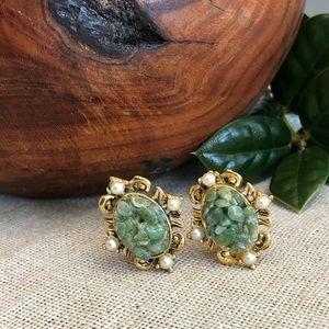 Vintage Green Aventurine Clip Earrings